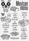 Menu mexican restaurant, template placemat. Stock Photography