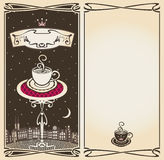 Menu with moon at night. Menu with urban landscape of the moon at night stock illustration