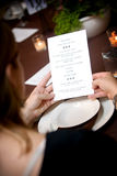 menu na ślub Zdjęcia Stock