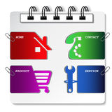 Menu navigation labels on the notebook Royalty Free Stock Photos