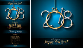 2018 Menu New Year Background for your Seasonal Flyers and Greetings Card Royalty Free Stock Photos