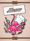 Menu with octopus Stock Photography