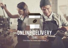 Menu Online Delivery Coffee Shop Concept Stock Photos