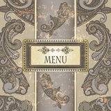 Menu with paisley pattern Royalty Free Stock Images