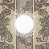 Menu with paisleys and napkin Stock Image