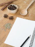 Menu paper template and Spicy herb ingredient Stock Photography
