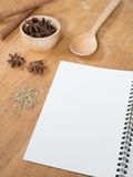Menu paper template and Spicy herb ingredient Royalty Free Stock Images