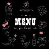 Menu para amantes Alimentos com corações Amor romântico Fotografia de Stock Royalty Free
