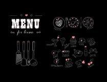 Menu para amantes Alimentos com corações Dia feliz dos Valentim Elementos da decoração da garatuja Mão desenhada quadro Imagens de Stock