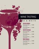 Menu para a degustação de vinhos Fotos de Stock Royalty Free