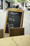 menu Paris restauraci ulica Fotografia Stock