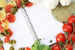 Menu and pasta Stock Image