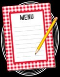 Menu with Pencil. Copy space to add your own text to customize this old fashioned retro menu, red gingham frame with pencil on black background Stock Photos