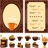 Menu per il caffè con il dessert e le bevande della raccolta Fotografia Stock