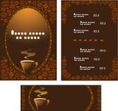 Menu per il caffè ed orizzontalmente l'insegna Fotografia Stock Libera da Diritti