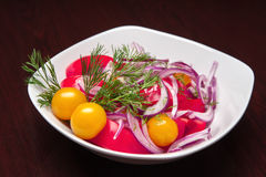 The menu - photo - fresh salad from tomatos, onions etc Royalty Free Stock Photography