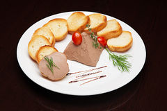 The menu - photo - superb tasty toasts with pate Royalty Free Stock Image