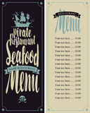 Menu pirate restaurants. Vector menu for seafood restaurants with pirate sailing frigate and Price Stock Photos