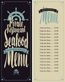 Menu pirate restaurants. Vector seafood menu for pirate restaurants with ship helm and Price Stock Photography