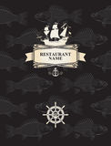 Menu with a pirate sail. And steering wheel on a background with the skeletons of fish royalty free illustration