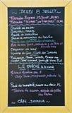 Menu pisać w Francuskim na blackboard restauracja Zdjęcie Royalty Free