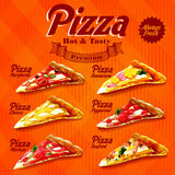 Menu pizza orange. Banner menu for pizza and fast food Stock Photography