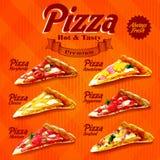 Menu pizza orange Stock Photography