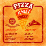 Menu pizza orange vintage Royalty Free Stock Image