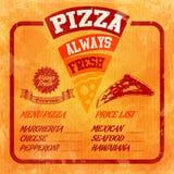 Menu pizzy pomarańcze rocznik Ilustracji