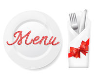 Menu with plate,fork and knife Royalty Free Stock Photography