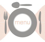 Menu with plate, fork and spoon Stock Photo