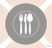 Menu with plate, fork and spoon Stock Photos
