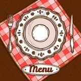 Menu With Porcelain Plate Royalty Free Stock Images