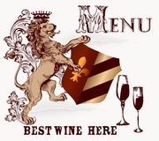 Menu or poster design in heraldic style with lion and wine Stock Images