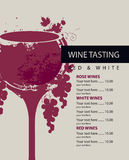Menu pour l'échantillon de vin Photos libres de droits