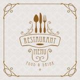 Menu pour le restaurant avec la vaisselle plate et les enjolivures illustration stock