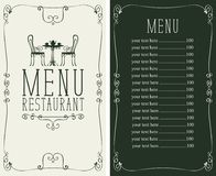 Menu with price, image of served table and chairs Royalty Free Stock Photos