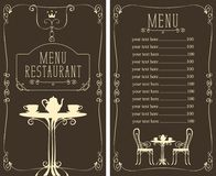 Menu with price, image of served table and chairs. Vector menu for restaurant or cafe with a price list and a table, chairs and tea in a curly frame in the art stock illustration