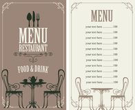 Menu with price, image of served table and chairs Stock Images