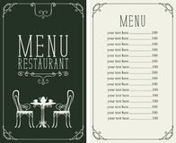 Menu with price, image of served table and chairs Royalty Free Stock Images