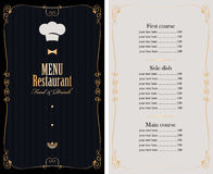 Menu with price list and gold pattern Stock Photo