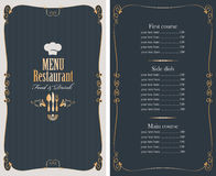 Menu with price list and gold pattern Stock Photos