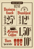 Menu prices Royalty Free Stock Photography
