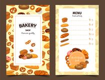 Banner with baker and menu with pastry. Menu with prices for bread and banner with bakery. Pastry for butterbrot and badge with baton or baguette, anadama and Royalty Free Stock Photography