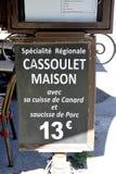 Menu proponuje sławnego cassoulet restauracja Obraz Stock