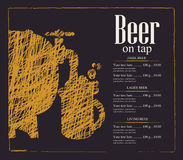 Menu for a pub with a beer keg and a glass Stock Images