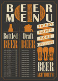 Menu for the pub for bottled and draft beer Stock Image