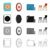 Menu in the pub, Darts game, TV with remote control, chair. Pub and party set collection icons in cartoon black Royalty Free Stock Images