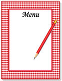 Menu, Red Gingham. Copy space to add text and art to customize this old-fashioned red and white gingham frame menu with red pencil Stock Image