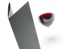 Menu and red wine Stock Photography